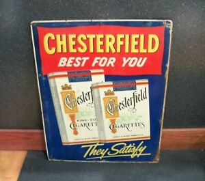 Vintage Chesterfield Cigarettes Embossed Tin Advertising Sign, 1940s