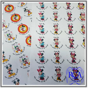 48 x Kids Birthday Thank You 45mm Circle Stickers Mickey & Minnie Mouse Designs