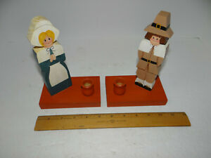 Pair Pilgrim Boy Girl Wood Candle Holders Rustic Farmhouse Country Folk Art