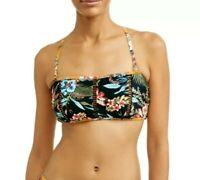 Time and Tru Women's Desert Bloom Bandeau Swimsuit Top Medium (8-10) Rich Black