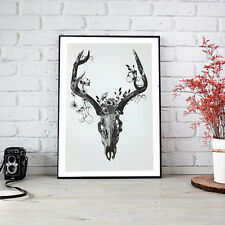 Stag Elk Deer Skull Head Print Poster Home Interior Wall Picture Decoration A4