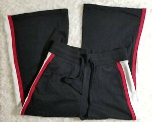 HOLLISTER Womens Sweatpants Wide Leg Black & Red Drawstring (BB61)