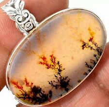 SOLID 925 STERLING SILVER SCENIC AGATE (DENDRITIC) CRYSTAL GEMSTONE PENDANT