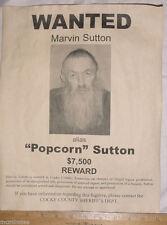 BIG 11 x 14 Marvin 'Popcorn' Sutton Wanted Poster, moonshine, moonshiner