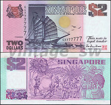 1992 SINGAPORE SHIP $2.00 HTT GX 777777 P-28 UNC *SOLID NUMBER*