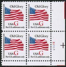 US USA Sc# 2882 MNH FVF PL# BLOCK Old Glory Flag Red G perf 11 x 10.9