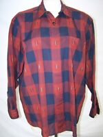 Free by Falke Red Blue Long Sleeve Button Front Top Womens Size Medium 8 10