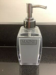 Grey Plastic Soap Dispenser with Chrome Coloured Pump by MAINE Good Condition