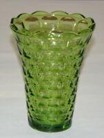 Vintage Green Glass Vase Rectangular Thumbprint Texture On Outside, Nice