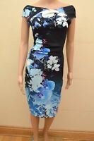 New Lipsy Floral Blue Mix Orchid Bodycon Dress Sz UK 10