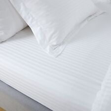 Fitted Sheet 300 Thread Count White Satin Stripe 100 Egyptian Cotton Hotel Qual