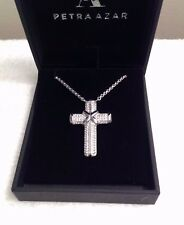 Sterling Silver LARGE CROSS WHITE SAPPHIRE STRIPES PETRA AZAR Magnetic Clasp #10