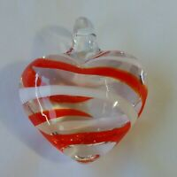 """Art Glass Pendant Clear Glass Heart Red White Stripes 1.5"""" Glass Bale"""