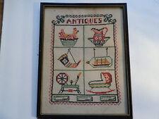 """Vintage (19Xx) Cross Stitch Sampler - Title: """"Antiques"""" Q"""
