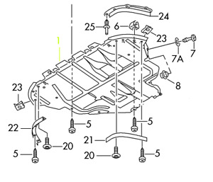Audi TT 03 - 06 OEM Engine Splash Shield Guard 8N0825235K 8N0825235M 8N0825235L