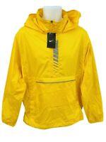 New NIKE MENS  Lightweight  Active Concealed Hood Rain Jacket Smock Yellow M