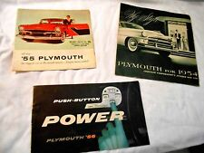 ORIGINAL LOT OF PLYMOUTH BROCHURES  54 PLYMOUTH 56 PLYMOUTH AND 55 VERY NICE
