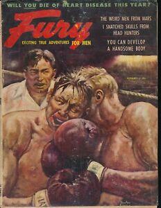 FURY August 1954 Men's Magazine BENTON CLARK Boxing Painted Cover