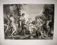 GRAVURE-TELEMAQUE-CALYPSO-MYTHOLOGIE GREC-ANTIQUITES-HOMERE-ULYSSE-GRECE-