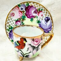 Vintage Hand Painted Red Parrot Pink & Purple Roses Footed Tea Cup & Saucer Set