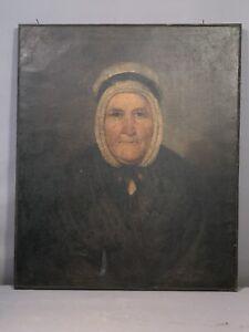 LG 19thC Antique PRIMITIVE VICTORIAN Era OLD LADY Bonnet PORTRAIT Oil PAINTING