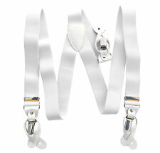New in box Men's Suspender White elastic Braces buttons clips wedding prom
