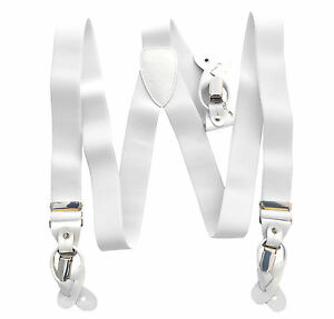 New Y back Men's Suspender White elastic convertible Braces buttons clips