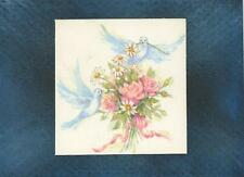 VINTAGE DOVES ROSES ART PRINT ON ACEO SIZE BLACK PAPER GOLD DUST COLLAGE PICTURE
