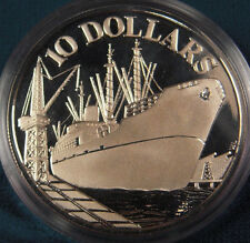 1975 Singapore Large  silver Proof $10- Ship