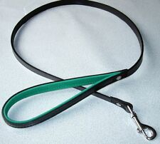 Deluxe Leather Dog Lead Black/Green 1m x 12mm