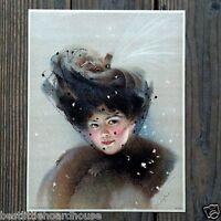 Vintage Original SNOWY VEIL VICTORIAN STONE LITHOGRAPH PRINT 1909 nos unused