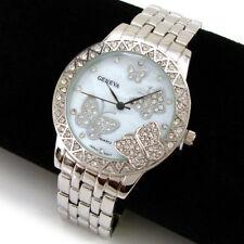 New Silver 3D Butterfly Dial Crystal Bezel Geneva Women's Watch