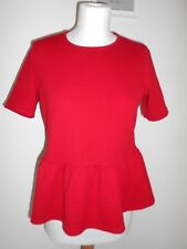 PRIMARK ladies blouse top - red tie neck peplum work smart - 8