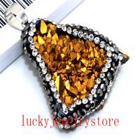 Golden Titanium Crystal Agate Druzy Quartz Geode Pave Crystal Pendant Bead DW50