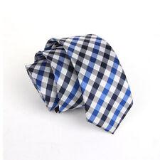 Men's Fashion Blue Checked Wedding Neck Tie Necktie Narrow Slim Skinny SK211