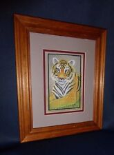 Vintage 1980's Tiger Silk Screen Painting 8 x 10 Picture Agra, India Free Frame