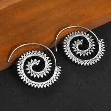 1 Pair Gold Silver Boho Spiral Brass Gypsy Earring Tribal Ethnic Hoops Jewellery