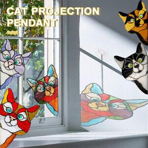Stained Glass Cartoon Peeking Cat Window Hanging Tag Ornament 3D Sticker 365mm