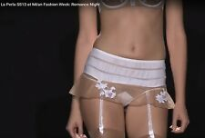 RUNWAY La Perla ROMANCE NIGHT Panties Belt Floral Lace Pink White RARE SOLD OUT