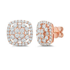 1.94CT 18K Rose Gold Natural Round Baguette Diamond Square Cushion Stud Earrings