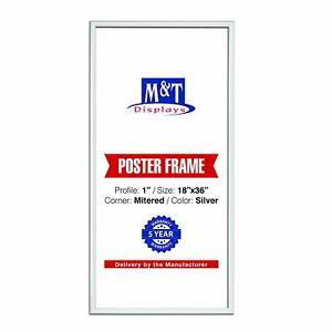 """18x36 Front Loading Snap Frame 1"""" Poster Display for Wall Mount (Silver)"""