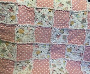 "HANDMADE 30"" X 30"" BABY GIRL RAG QUILT - cute assorted sheep"