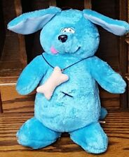 Vintage 1989 Nanco Plush Blue Dog Floppy Ear Stuffed Animal Bone HTF