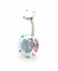 """14G Large 3/8"""" CZ Belly Button Navel Ring Gold Tone Body Jewelry Piercing NEW"""
