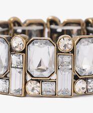 FOREVER 21 crystal rhinestone stretch bracelet gem NWOT gold