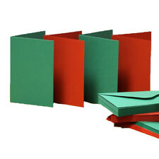 50 Red & Green C6 Blank Greeting Cards & Envelopes Christmas Colours Craft 494