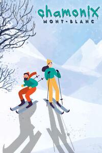 Chamonix Mont-Blanc Skiers Vintage Travel Ski Poster