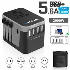Kiya Travel Power Plug Adapter (1 Usb Type C + 4 Usb Type A) Wall Charger - Fast