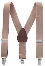 """New 1"""" Tan Suspenders Baby, Toddlers, Kids, Boys Elastic Adjustable - Made in US"""