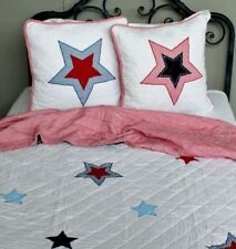 Shabby Chic Nordic Style Star Childrens Bed Throw/Pillows With Gingham See Descr